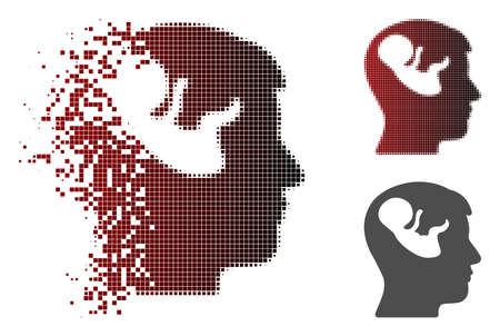 Embryo mind head icon in dispersed, pixelated halftone and undamaged solid variants. Particles are organized into vector dispersed embryo mind head figure.
