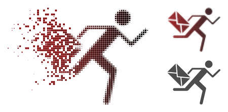 Courier icon in sparkle, pixelated halftone and undamaged solid versions. Fragments are organized into vector disappearing courier figure. Stock Illustratie