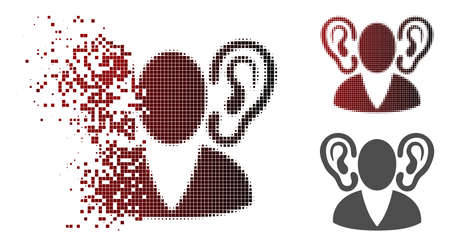 Listener icon in sparkle, pixelated halftone and undamaged whole variants. Points are grouped into vector sparkle listener icon.