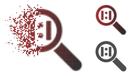 Zoom actual size icon in dissolved, pixelated halftone and undamaged solid versions. Particles are composed into vector disappearing zoom actual size symbol. Illusztráció