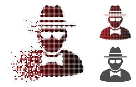 Secret agent icon in dispersed, pixelated halftone and undamaged whole variants. Cells are organized into vector disappearing secret agent pictogram.