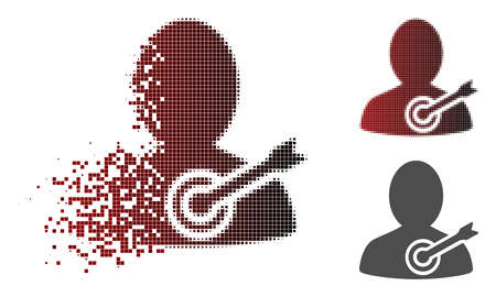 Aim person icon in dispersed, dotted halftone and undamaged solid versions. Pieces are grouped into vector disappearing aim person figure.