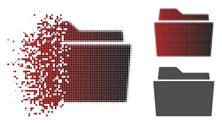 Folder icon in dispersed, pixelated halftone and undamaged entire versions. Cells are grouped into vector dispersed folder figure.