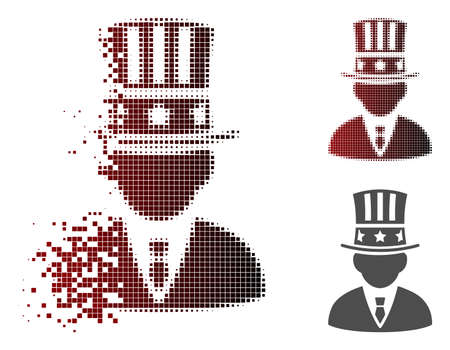 American capitalist icon in dispersed, pixelated halftone and undamaged entire variants. Particles are organized into vector dispersed American capitalist icon. Stock Vector - 111484884