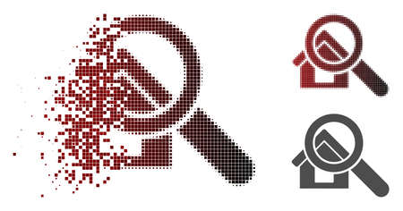 Search house icon in dispersed, pixelated halftone and undamaged whole variants. Cells are arranged into vector dispersed search house shape.