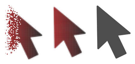Mouse cursor icon in dispersed, dotted halftone and undamaged whole variants. Cells are arranged into vector disappearing mouse cursor form. 向量圖像