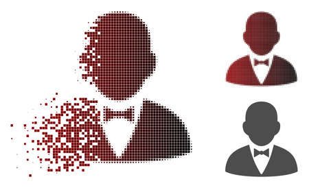 Gentleman icon in dispersed, pixelated halftone and undamaged entire variants. Particles are grouped into vector dispersed gentleman symbol.