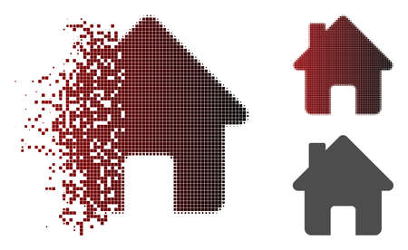 Home icon in dispersed, dotted halftone and undamaged solid versions. Points are combined into vector disappearing home shape. Vettoriali