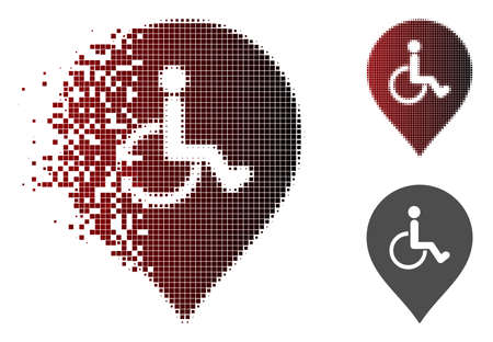 Disabled person parking marker icon in dissolved, pixelated halftone and undamaged entire variants. Particles are arranged into vector dispersed disabled person parking marker shape.