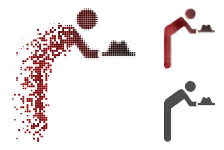 Servant with hat icon in dispersed, pixelated halftone and undamaged entire versions. Elements are organized into vector dispersed servant with hat figure.