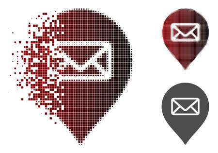 Post office marker icon in sparkle, pixelated halftone and undamaged solid variants. Pieces are composed into vector disappearing post office marker figure.