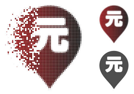 Yuan Renminbi marker icon in dispersed, dotted halftone and undamaged solid versions. Elements are arranged into vector dispersed Yuan Renminbi marker icon.