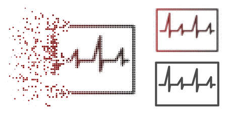 Cardiogram icon in sparkle, pixelated halftone and undamaged whole variants. Cells are arranged into vector sparkle cardiogram form. Stock Photo