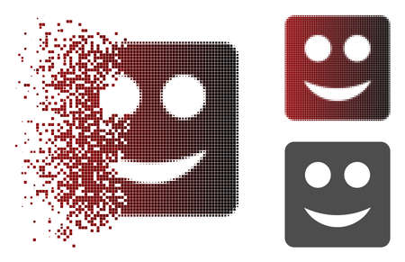 Square smile icon in dispersed, pixelated halftone and undamaged entire variants. Elements are organized into vector dissolving square smile icon.
