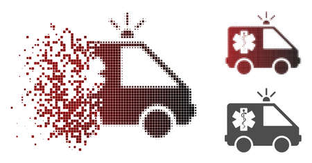 Emergency car icon in dispersed, pixelated halftone and undamaged whole variants. Pieces are combined into vector dispersed emergency car shape.