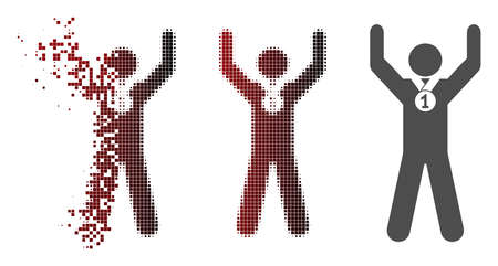 Winner hands up icon in dissolved, pixelated halftone and undamaged solid versions. Pieces are composed into vector dissolving winner hands up icon. Stock Photo