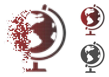 Globe icon in dispersed, dotted halftone and undamaged whole versions.
