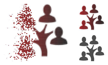 Genealogy tree icon in dispersed, dotted halftone and undamaged solid variants. Fragments are organized into vector dissolving genealogy tree pictogram.