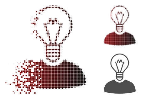 Bulb inventor icon in dissolved, pixelated halftone and undamaged whole variants.