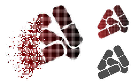 Pills icon in fractured, dotted halftone and undamaged entire variants. Cells are grouped into vector disappearing pills shape. Stock Illustratie