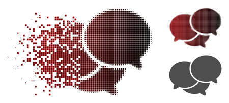 Webinar icon in sparkle, pixelated halftone and undamaged whole variants. Pixels are composed into vector disappearing webinar figure. Illustration
