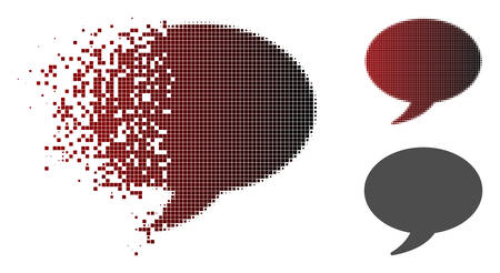 Message balloon icon in dispersed, pixelated halftone and undamaged whole versions.