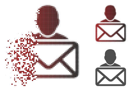 Mail recipient icon in dispersed, pixelated halftone and undamaged entire variants. Fragments are composed into vector dispersed mail recipient shape.