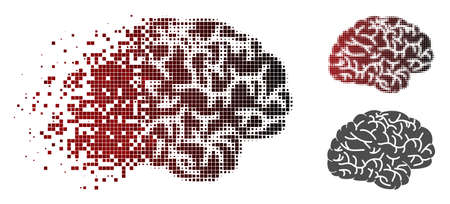 Brain icon in sparkle, pixelated halftone and undamaged entire variants. Particles are grouped into vector disappearing brain symbol.