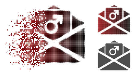 Penis enhancement spam icon in dispersed, dotted halftone and undamaged solid versions.