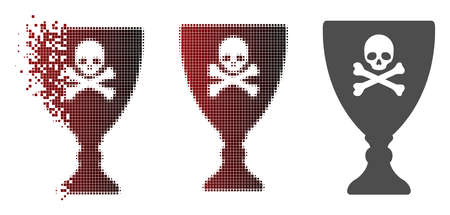 Poison cup icon in dissolved, dotted halftone and undamaged whole versions.