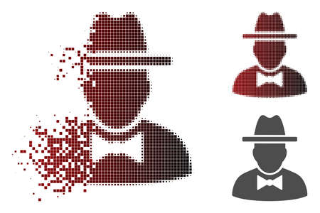 Spy icon in sparkle, pixelated halftone and undamaged whole variants. Elements are composed into vector disappearing spy figure.