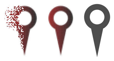 Map marker icon in dispersed, dotted halftone and undamaged solid versions. Points are organized into vector dispersed map marker icon.