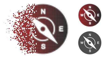 Compass icon in sparkle, dotted halftone and undamaged whole variants. Points are combined into vector dissipated compass symbol. Illustration