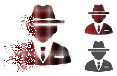 Agent icon in fractured, dotted halftone and undamaged solid versions. Banco de Imagens - 107336928