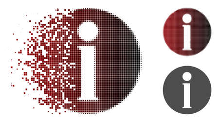 Info icon in dissolved, pixelated halftone and undamaged solid variants. Elements are arranged into vector dissolving info figure. Illustration