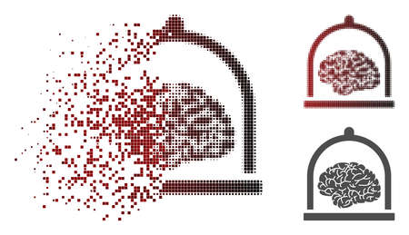 Brain conservation icon in fractured, pixelated halftone and undamaged entire variants. Cells are grouped into vector disappearing brain conservation symbol.