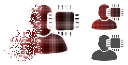 Neuro interface icon in dispersed, dotted halftone and undamaged whole versions. Particles are grouped into vector dispersed neuro interface pictogram.