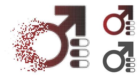 Male erection pills icon in sparkle, pixelated halftone and undamaged whole versions. Fragments are grouped into vector dispersed male erection pills icon.