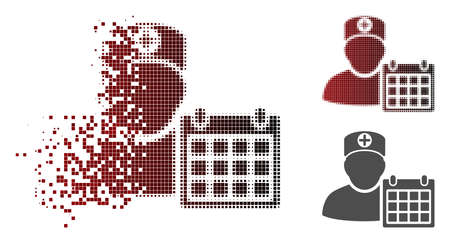 Doctor schedule calendar icon in dispersed, pixelated halftone and undamaged whole variants. Elements are grouped into vector disappearing doctor schedule calendar form. Illustration