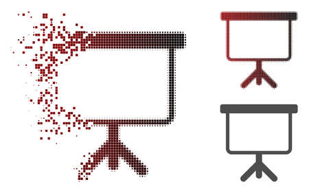 Projection board icon in dispersed, pixelated halftone and undamaged solid variants. Pixels are composed into vector disappearing projection board form. Illustration