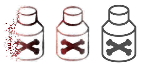 Poison phial icon in sparkle, dotted halftone and undamaged entire versions. Fragments are arranged into vector disappearing poison phial icon. Illustration
