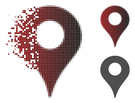 Map marker icon in sparkle, dotted halftone and undamaged solid variants. Elements are organized into vector dissolving map marker icon.