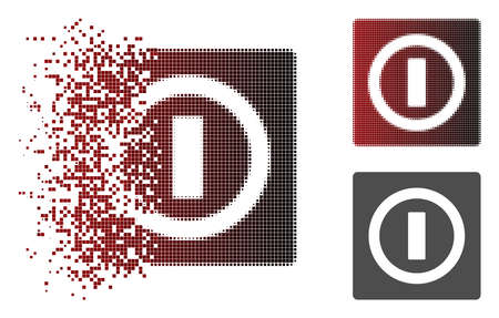 Switch icon in dissolved, dotted halftone and undamaged whole variants. Fragments are composed into vector dissipated switch icon.