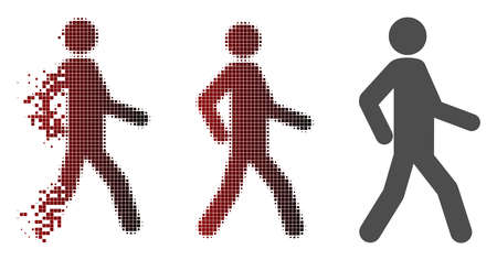 Walking man icon in fractured, pixelated halftone and undamaged whole versions. Cells are grouped into vector dissolving walking man icon.