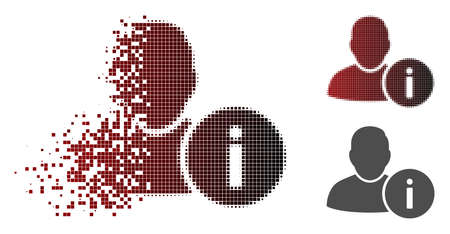 User info icon in fractured, dotted halftone and undamaged solid variants. Elements are organized into vector disappearing user info icon. Illusztráció