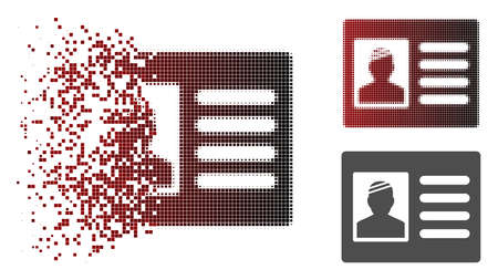 Patient card icon in dissolved, pixelated halftone and undamaged entire versions. Elements are grouped into vector disappearing patient card figure. 向量圖像