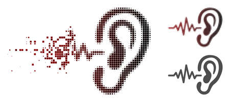 Hearing signal icon in dispersed, pixelated halftone and undamaged solid versions. Points are organized into vector dispersed hearing signal icon. Ilustração