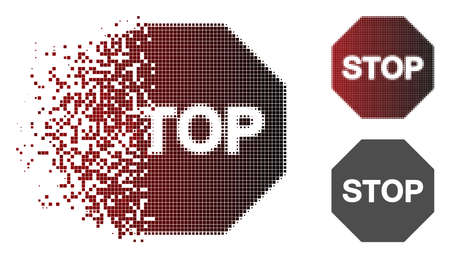 Stop sign icon in dissolved, pixelated halftone and undamaged whole versions. Points are combined into vector sparkle stop sign icon. Illustration