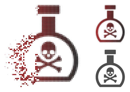 Poison retort icon in dispersed, dotted halftone and undamaged whole variants. Elements are grouped into vector dispersed poison retort symbol.