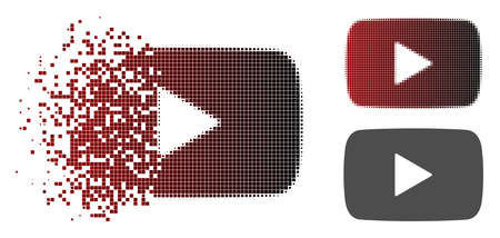 Play video icon in dispersed, pixelated halftone and undamaged entire variants. Pixels are composed into vector dispersed play video icon.